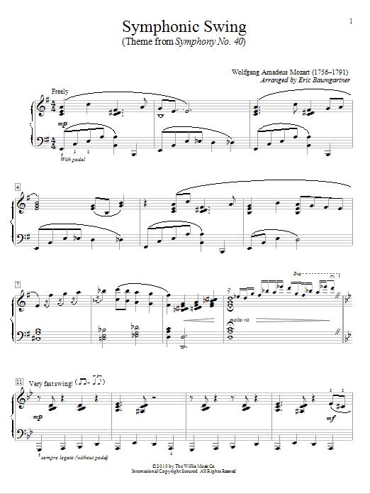 Symphonic Swing (Theme From Symphony No. 40) sheet music