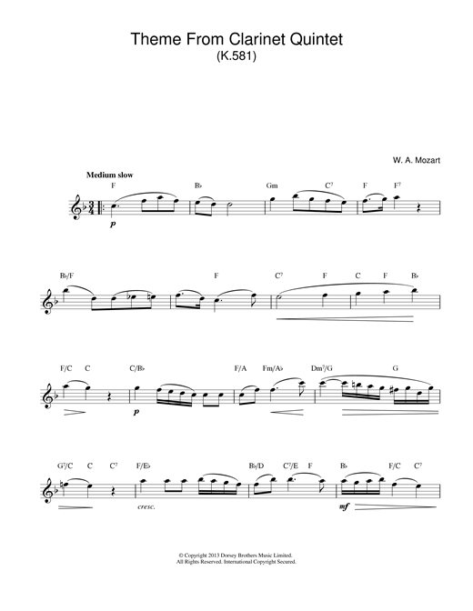 Theme From Clarinet Quintet, K581 sheet music