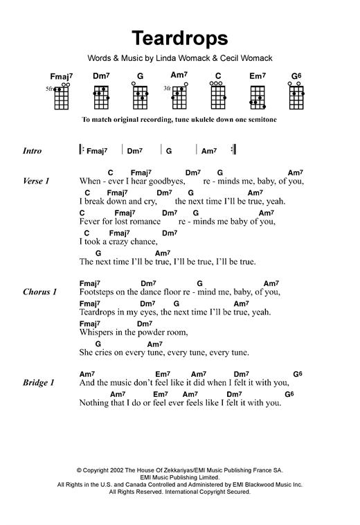 Teardrops sheet music