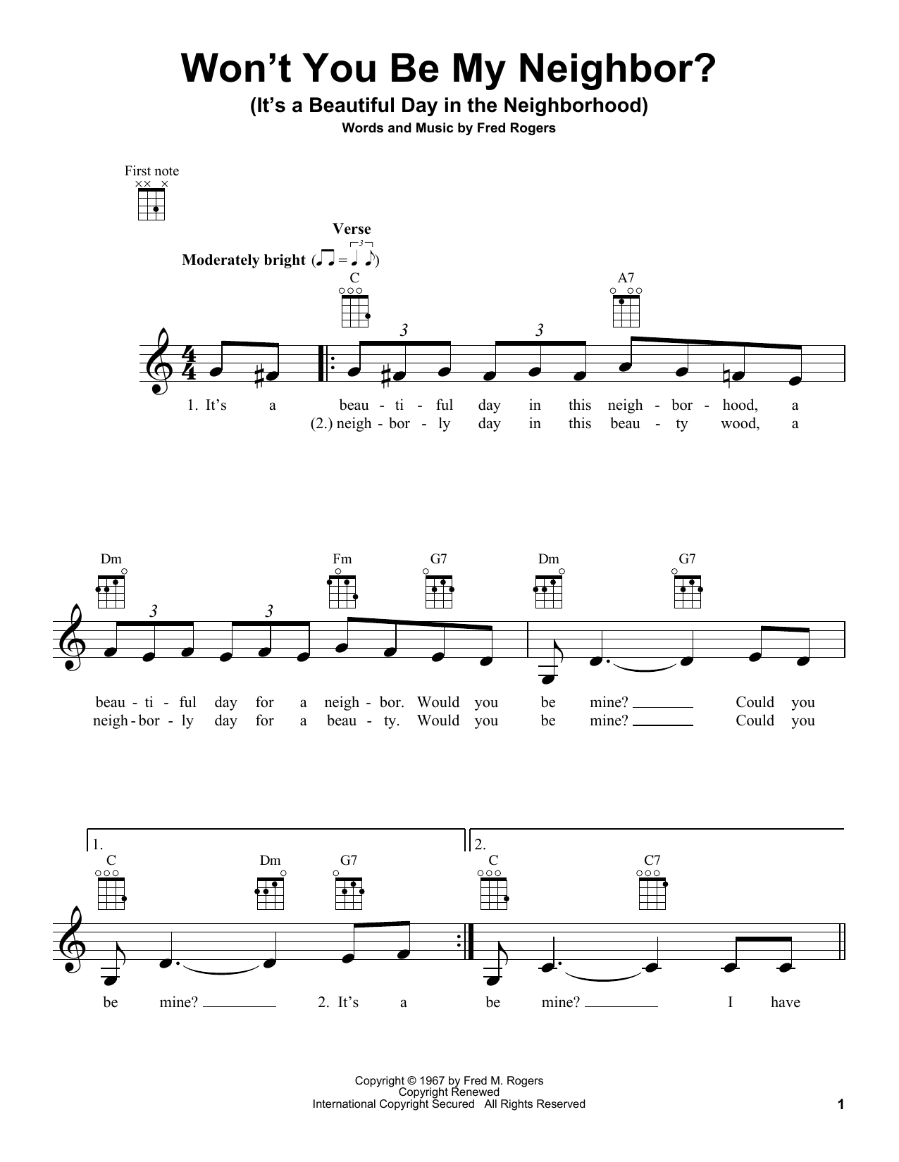 Fred Rogers Won T You Be My Neighbor It S A Beautiful Day In The Neighborhood Sheet Music Download Pdf Score 188363