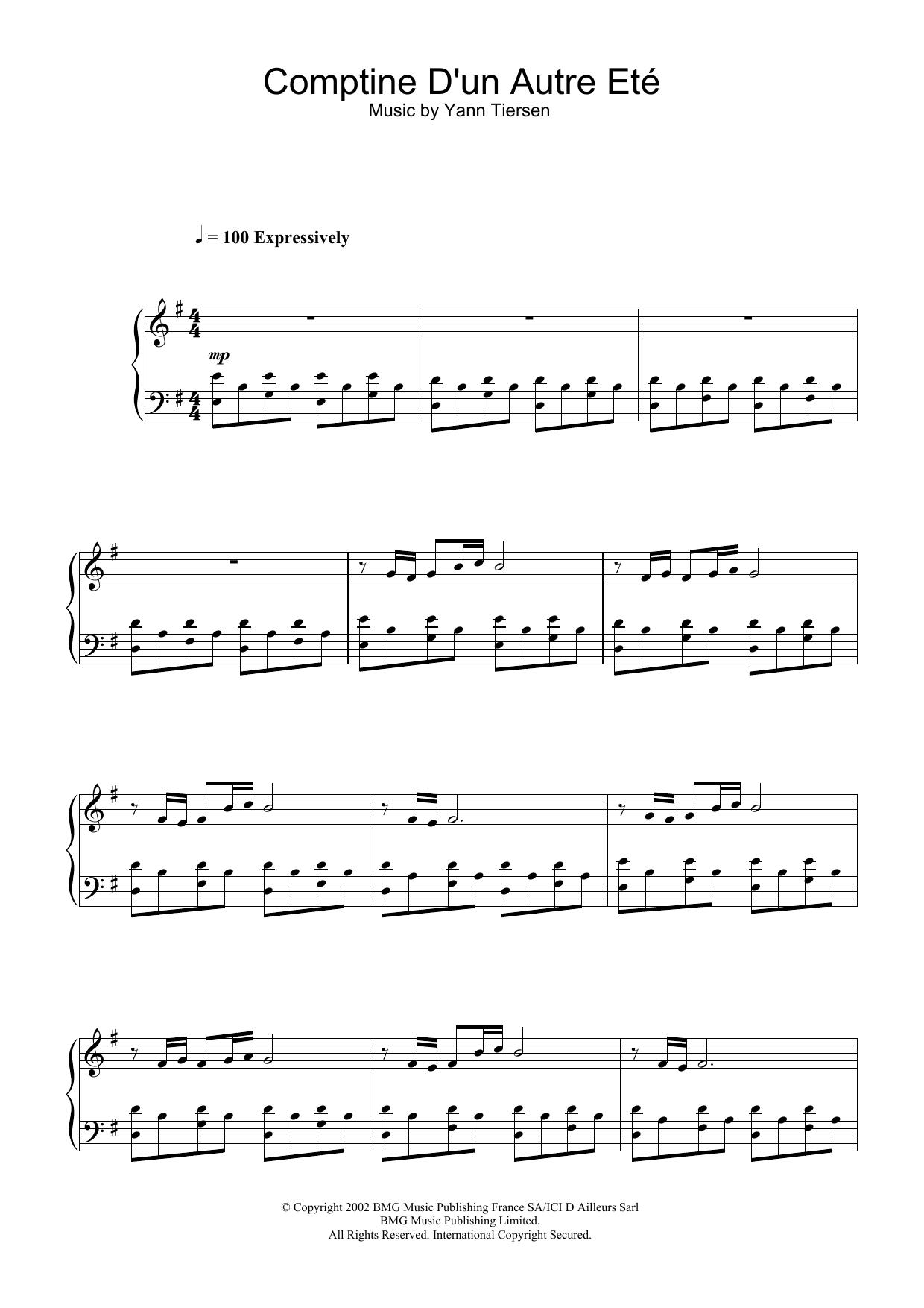 Comptine D'un Autre Eté (from Amélie) sheet music