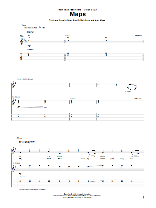Maps sheet music