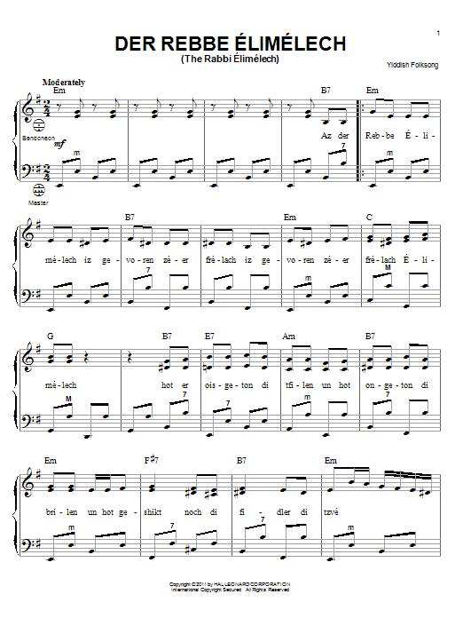 Der Rebbe Elimelech (The Rabbi Elimelech) sheet music