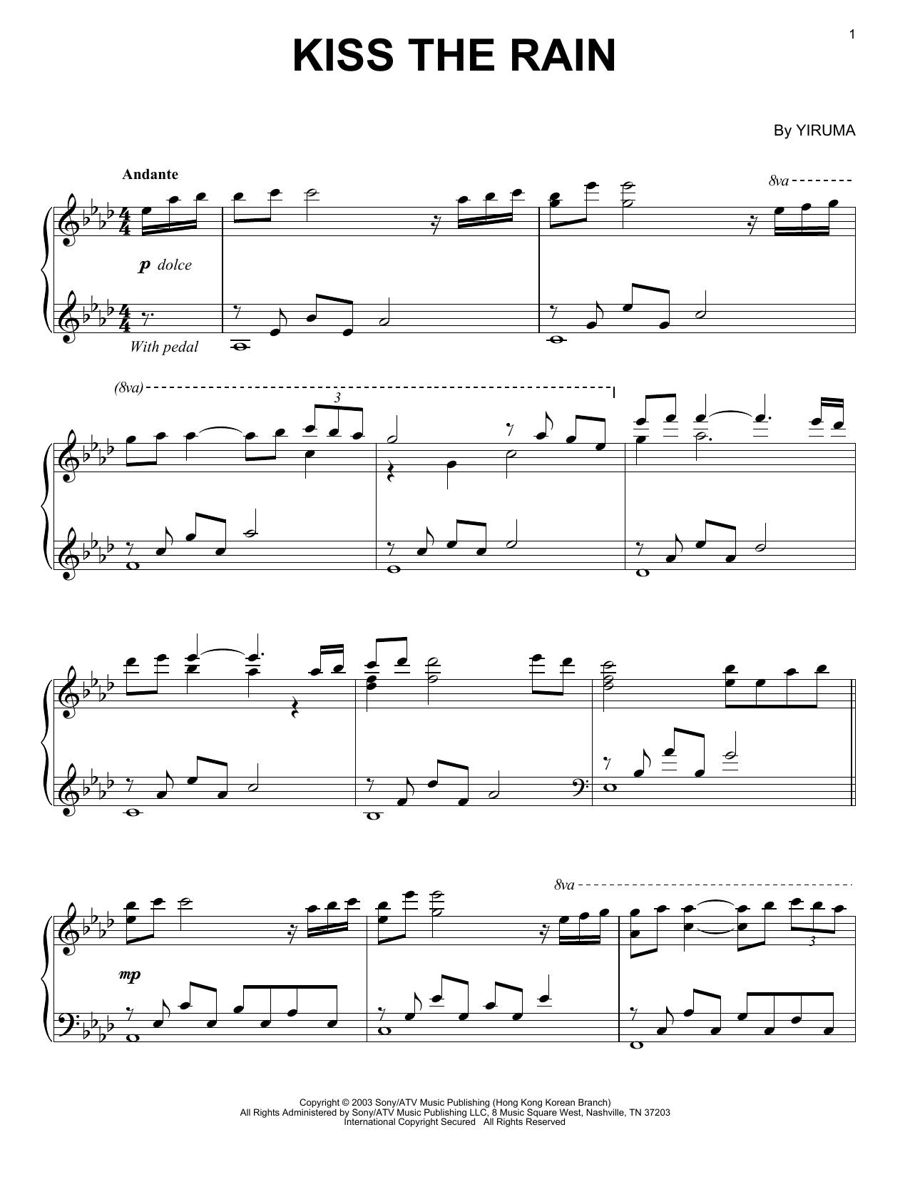 Kiss The Rain sheet music