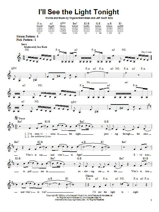 I'll See The Light Tonight sheet music