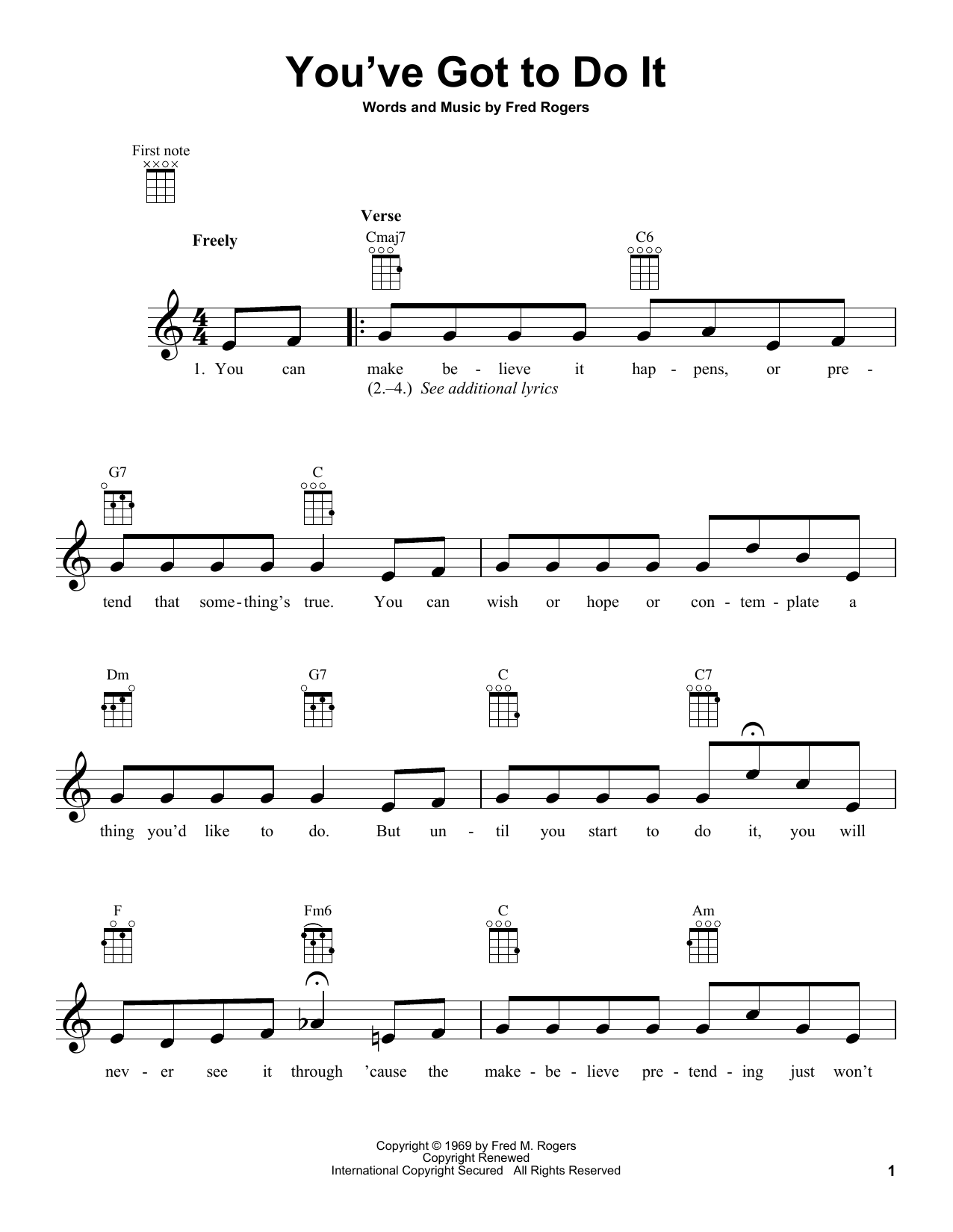 Fred Rogers You Ve Got To Do It From Mister Rogers Neighborhood Sheet Music Download Pdf Score 431281