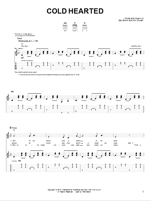 Cold Hearted sheet music
