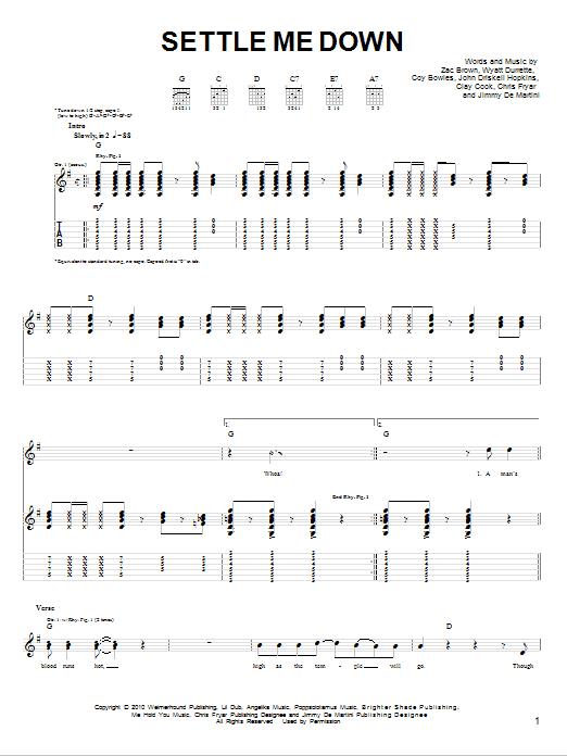 Settle Me Down sheet music
